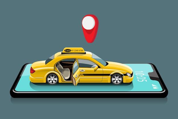 Aplicativo online para chamada de serviço de táxi por smartphone