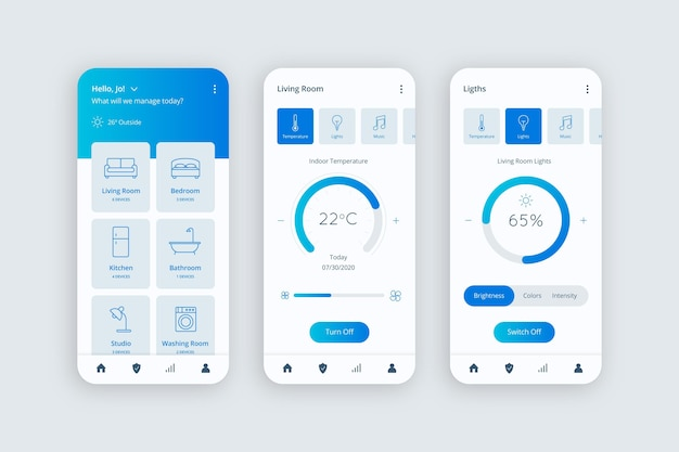 Aplicativo para casa inteligente Vetor Premium