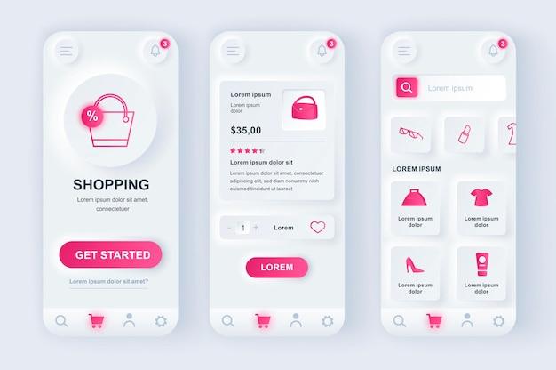 Aplicativo para dispositivos móveis de interface do usuário de design neumorfico moderno de compras online