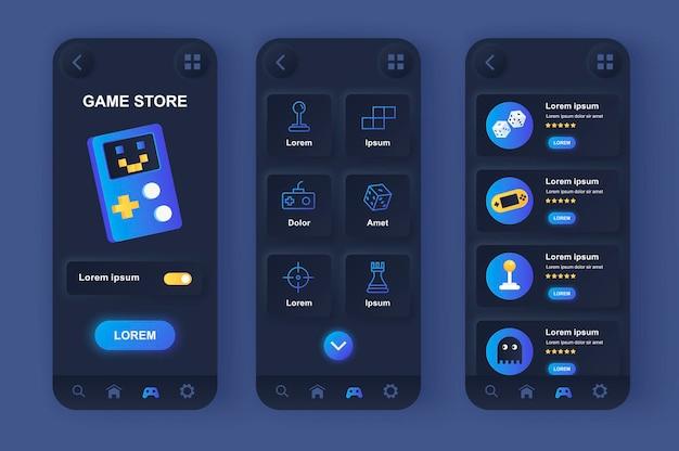 Aplicativo para dispositivos móveis de interface do usuário de design neumorfo da loja de jogos