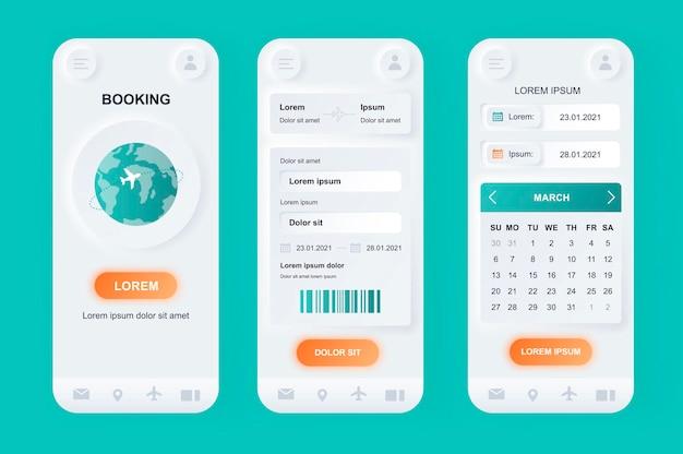Aplicativo para dispositivos móveis de interface do usuário de design neumorfo para reserva de voos