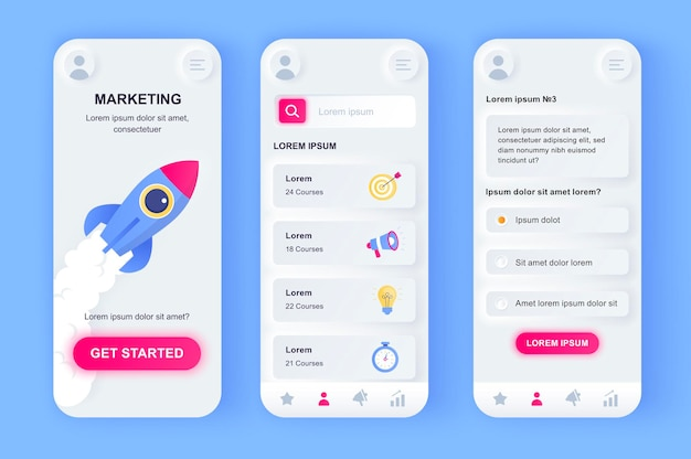 Aplicativo para dispositivos móveis de interface do usuário de marketing digital moderno