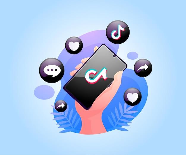 Aplicativo tiktok de mídia social no smartphone
