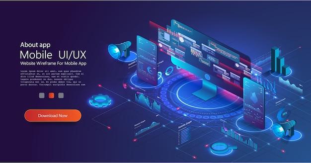 Aplicativo ux de pc e telefone com gráfico de negócios e dados analíticos em isométricos. página de destino isométrica de marketing financeiro. negócios digitais, comércio e investimento online