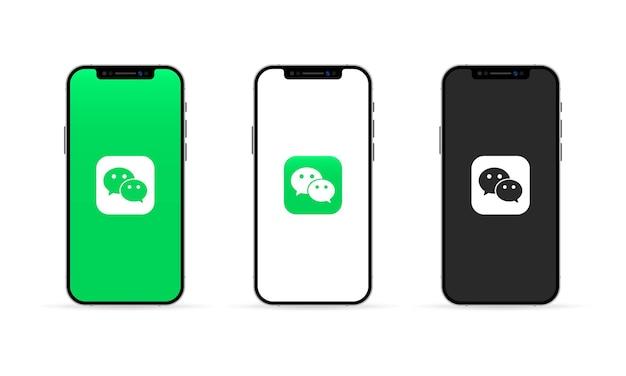 Aplicativo wechat na tela do iphone. conceito de mídia social. interface de usuário ux branca.