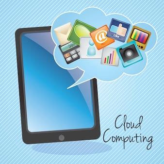 Aplicativos de computação em nuvem na ilustração de backgroundvector azul