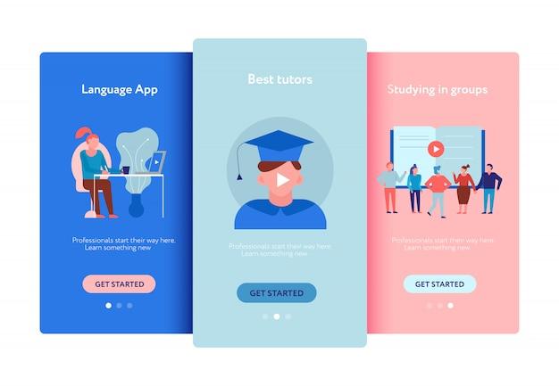 Aplicativos de cursos de idiomas para educação on-line, treinamento em grupo, tutores pessoais oferecem anúncios conjunto de telas de smartphones planas