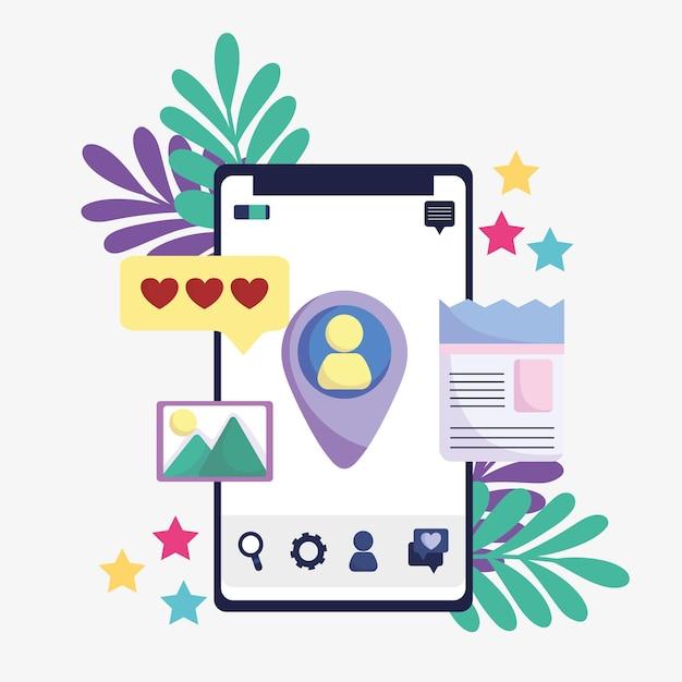 Aplicativos de mídia social compartilhando mensagens em smartphones