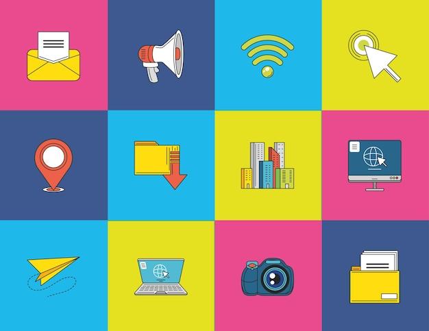 Aplicativos de mídia social e-mail foto wi-fi