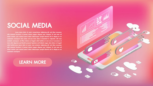 Aplicativos de mídia social em um smartphone ícones 3d isométricos