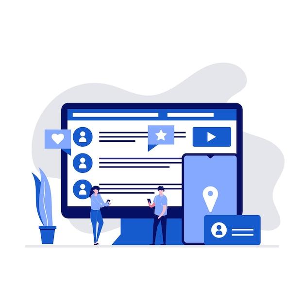 Aplicativos de mídia social, serviços, comunicações globais e conceito de chat ao vivo com personagens.