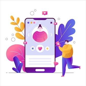 Aplicativos em um smartphone para namoro online