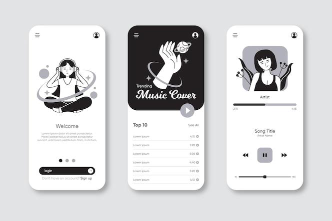 Aplicativos incolores desenhados à mão em design plano