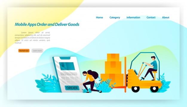 Aplicativos móveis encomende e entregue mercadorias. encomendar pacotes da loja online é entregar ao armazém e ao consumidor. equipamento de transporte. modelo de página da página de destino