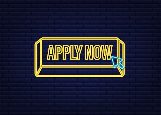 Aplique agora. banner de néon da web. seta, ícone do cursor. ícone de seta do vetor. clique com a mão. ilustração em vetor das ações.