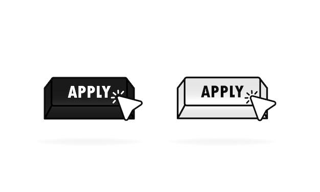 Aplique agora os botões preto e branco em estilo plano com o cursor. ícone de aplicação de vetor. ilustração vetorial para serviços da web, aplicativos ou sites