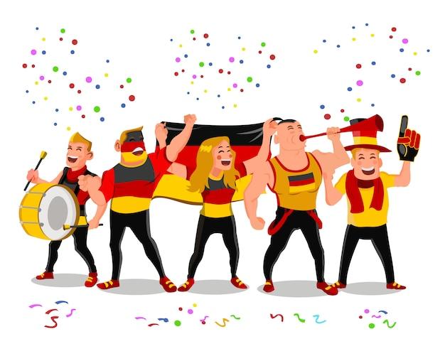 Apoiadores alegres da equipa nacional do futebol de alemanha