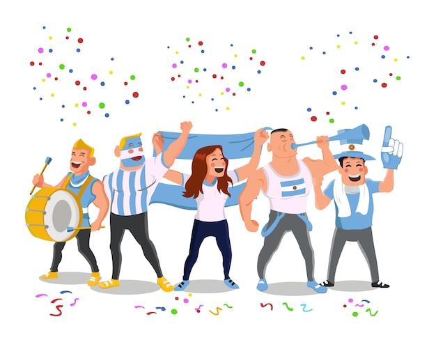 Apoiadores alegres da equipe nacional do futebol de argentina