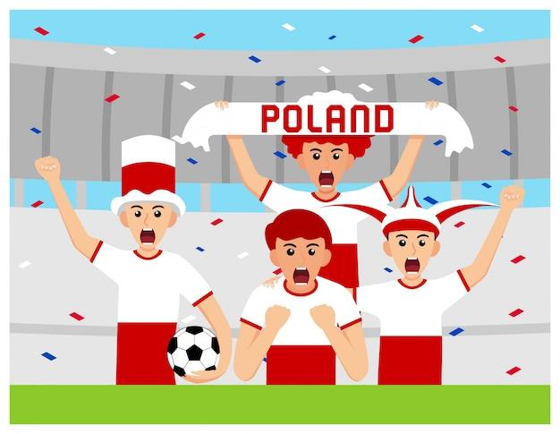 Apoiantes da polónia em design plano