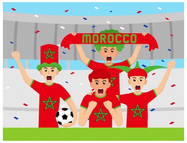 Apoiantes de marrocos em design plano