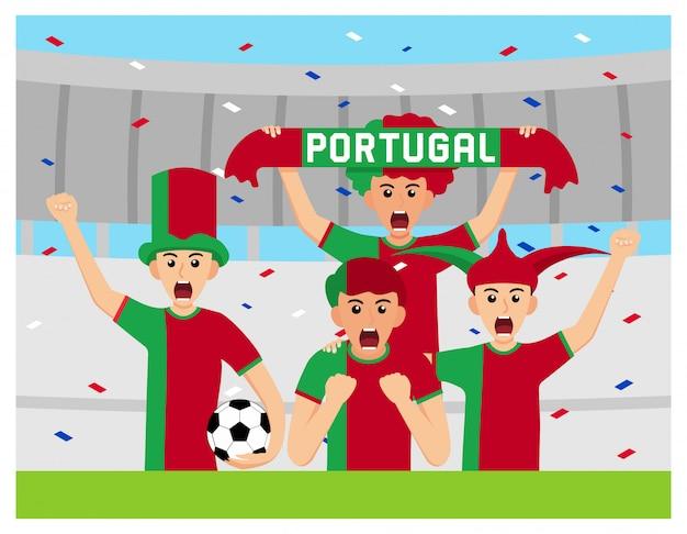 Apoiantes de portugal em design plano