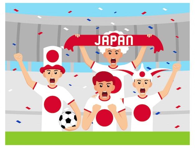 Apoiantes do japão em design plano