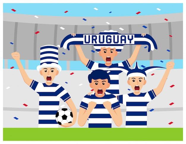 Apoiantes do uruguai em design plano