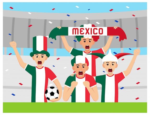 Apoiantes mexicanos em design plano