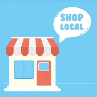 Apoie a campanha de negócios locais com design de ilustração de construção de loja