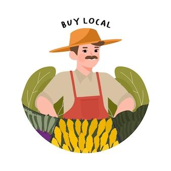Apoie a ilustração de fazendeiros locais