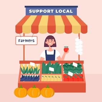 Apoie a ilustração dos agricultores locais