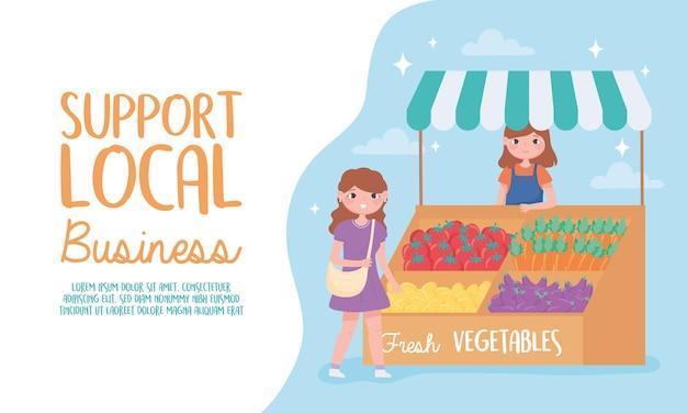 Apoie empresas locais, agricultoras com vegetais frescos e ilustração de clientes