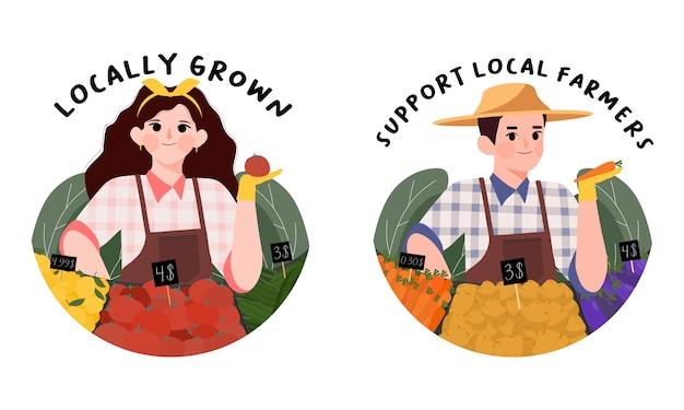 Apoie o conceito de agricultores locais.