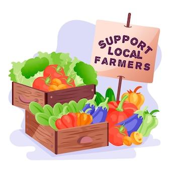 Apoie o conceito de agricultores locais