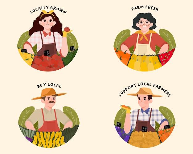 Apoie os agricultores locais e os rótulos do farmer's market.