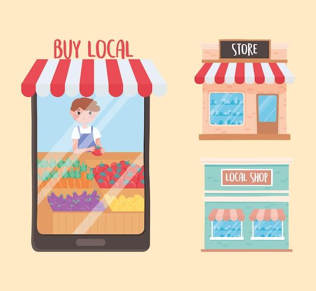 Apoie pequenas empresas, loja de compra online e loja local ilustração de pequenas empresas
