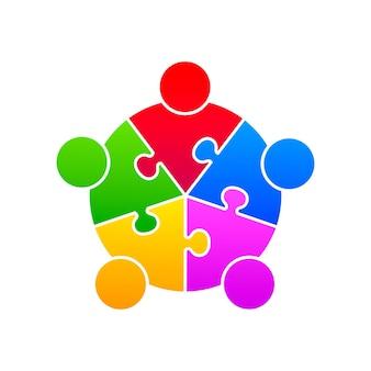 Apoio da união do quebra-cabeça da comunidade no fundo branco. ilustração vetorial