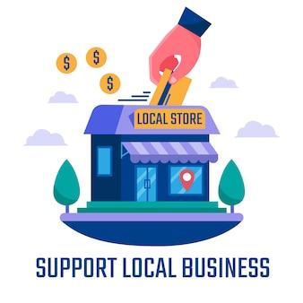 Apoio de ilustração negócio local