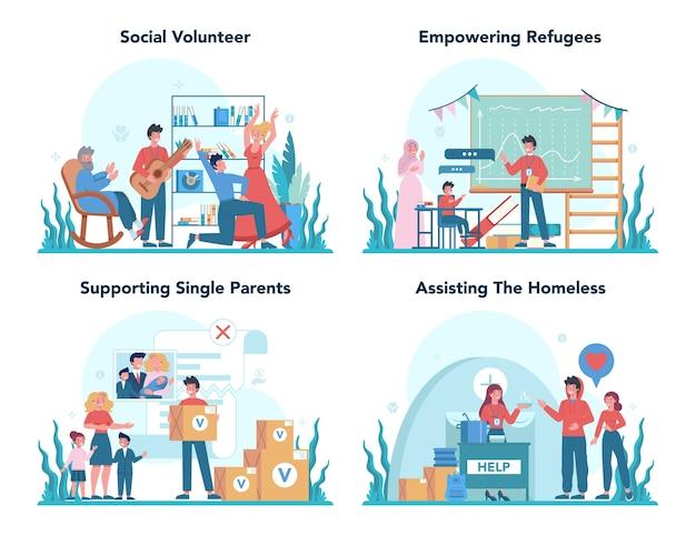 Apoio e cuidado da comunidade de caridade