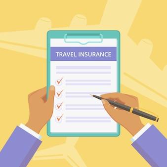 Apólice de seguro de viagem com prancheta