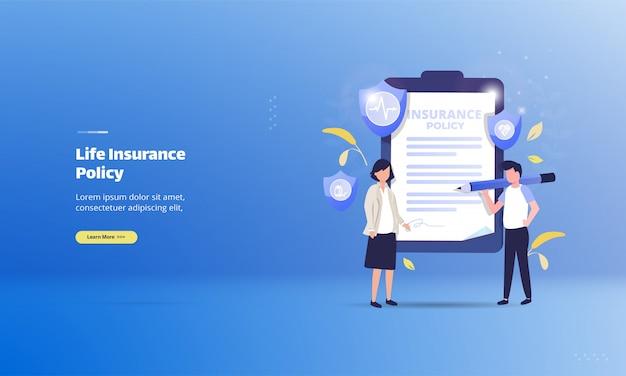 Apólice de seguro de vida no conceito de ilustração