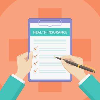 Apólice de seguro médico na área de transferência com as mãos