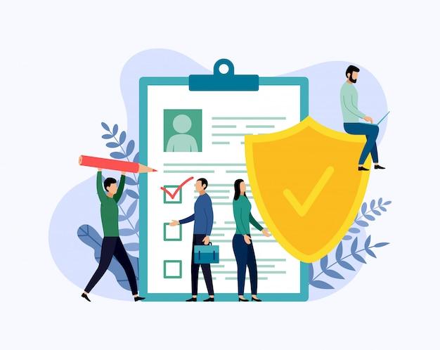 Apólice de seguro, segurança de dados, negócios