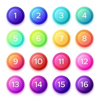 Apontando o número no botão de bala de gradiente.