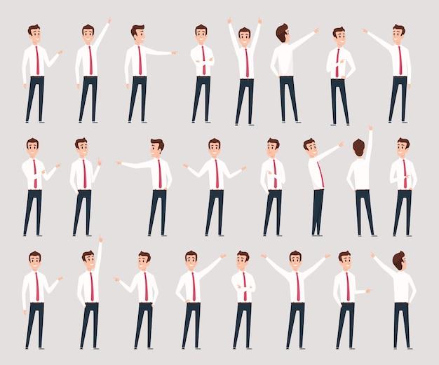 Apontar masculino. personagens de empresário de pé e oferecendo líder consultivo apontando pessoas. empreendedor profissional de ilustração, gerente de funcionário humano