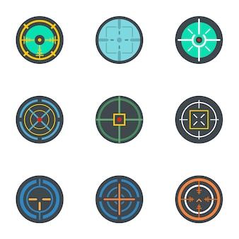 Aponte o conjunto de ícones. conjunto plano de 9 ícones de objetivo