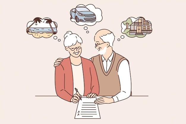 Aposentadoria feliz e o conceito de férias de planejamento. casal maduro velho e mulher em pé, assinando documento, planejando o fim de semana juntos, sentindo-se feliz ilustração vetorial