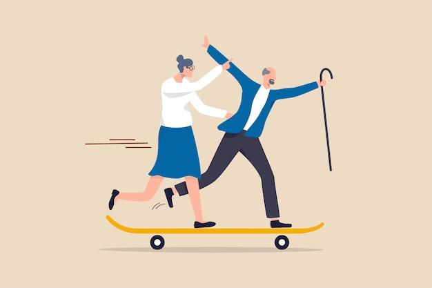 Aposentadoria feliz, sênior ativo aproveite a vida após se aposentar ou cuidados de saúde e seguro para o conceito de sociedade de envelhecimento de idosos, casal de idosos felizes vovô e avó aproveite a vida correndo no skate.