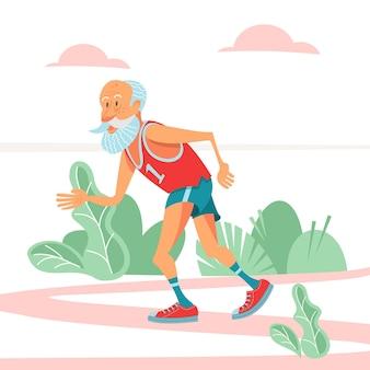 Aposentados idosos que praticam esportes. ilustração vetorial.
