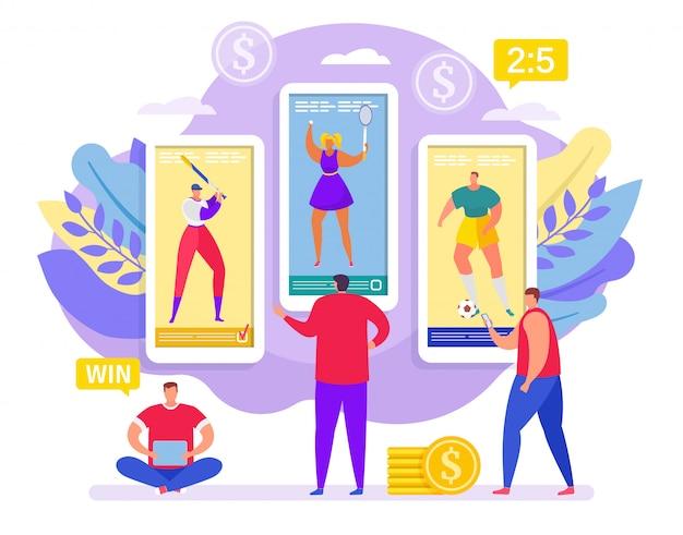 Apostas desportivas on-line, apostas em pessoas pequenas do esporte ganham na ilustração dos desenhos animados de smartphone.